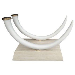 1980s Hollywood Regency Faux Elephant Tusk Dining Table Base For Sale