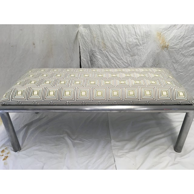 Clean lined, aluminum, tubular Bench with embroidered upholstery. Lightweight, but sturdy. Newly upholstered in a mid mod...