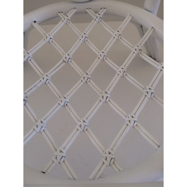 Rattan 1960s Vintage Hollywood Regency White Rattan Base Dining Table For Sale - Image 7 of 10