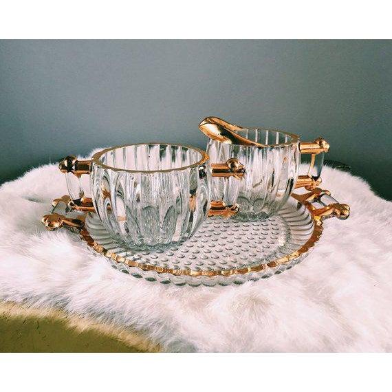 Vintage Hollywood Regency Glass Cream + Sugar Set W/ Gold Leaf Detailing - 3 Pc. Set For Sale In Nashville - Image 6 of 6