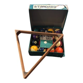 1960s Vintage Belgian Wood Rack Billiard Set For Sale