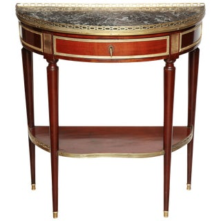 French Demilune Console Table For Sale