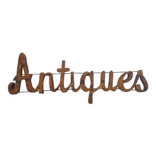 Vintage Antiques Metal Wall Sign For Sale