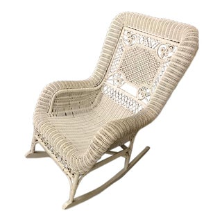 "Early 20th Century Vintage White Wicker Rocking Chair, 26""w X 40""d X 36""h For Sale"