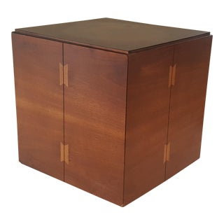 Lane Butterfly Inlay Walnut Rolling Cube End Table