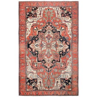 Rust Color Large Antique Persian Serapi Rug For Sale