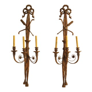 Large Pair of French Style Wood Carved Gold Electrified Wall Sconces