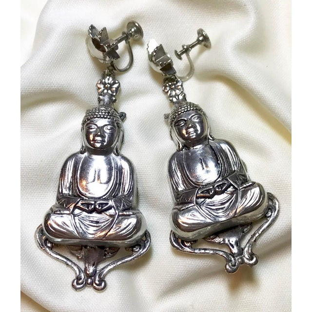 Asian Mid-Century Silvertone Metal Buddha Dangling Screw-Back Earrings For Sale - Image 3 of 7