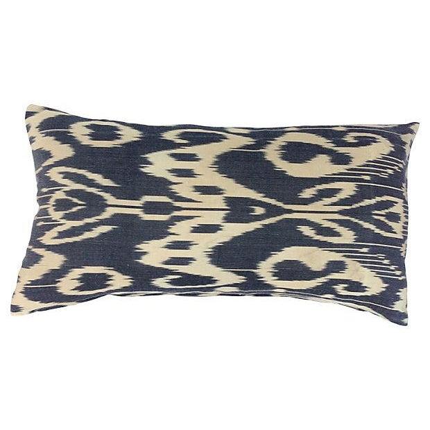 Black & Neutral Silk Ikat Pillow - Image 1 of 4