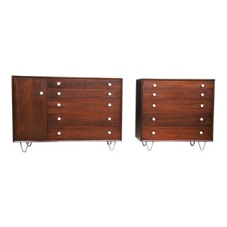 Herman Miller George Nelson Thin Edge Group Walnut Dressers - Set of 2 For Sale