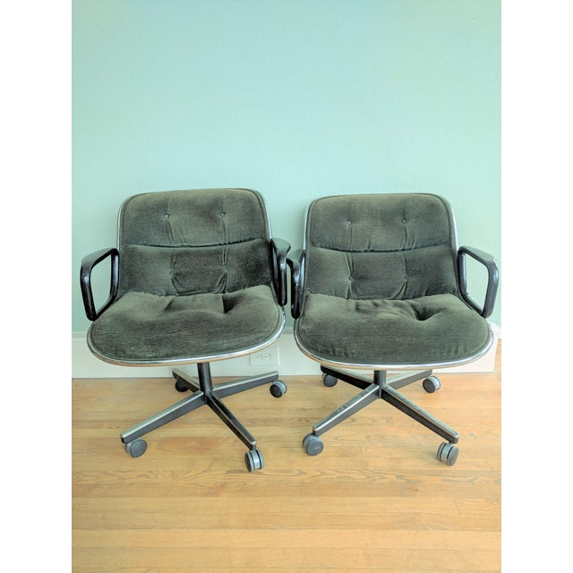Mid-Century Modern Vintage Knoll Pollock Green Mohair Velvet Executive Chairs - a Pair For Sale - Image 3 of 13