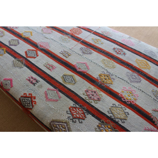 Textile Ottoman Upholstered in a Vintage Rug For Sale - Image 7 of 10