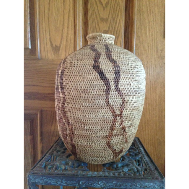African African Handmade Tribal Basket For Sale - Image 3 of 5