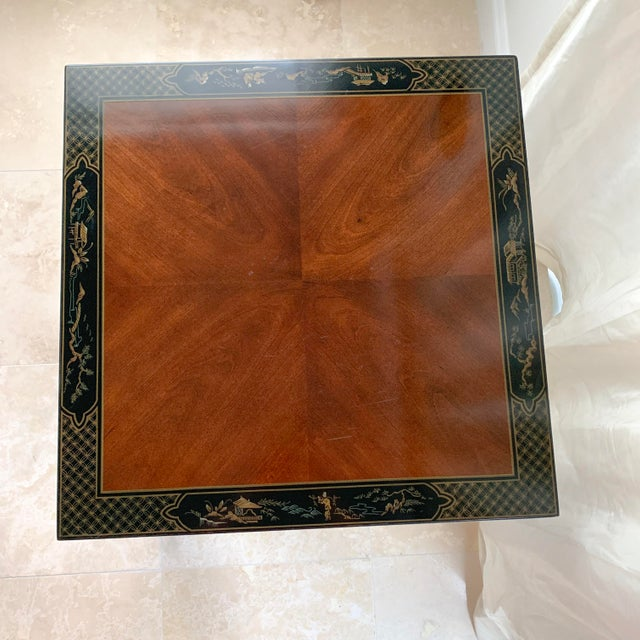 Asian Vintage Drexel Heritage Et Cetera Chinoiserie Lacquer End Side Squared Table For Sale - Image 3 of 13