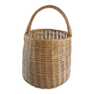 Extra Large Vintage Handwoven Rattan Round Basket With Handle For Sale