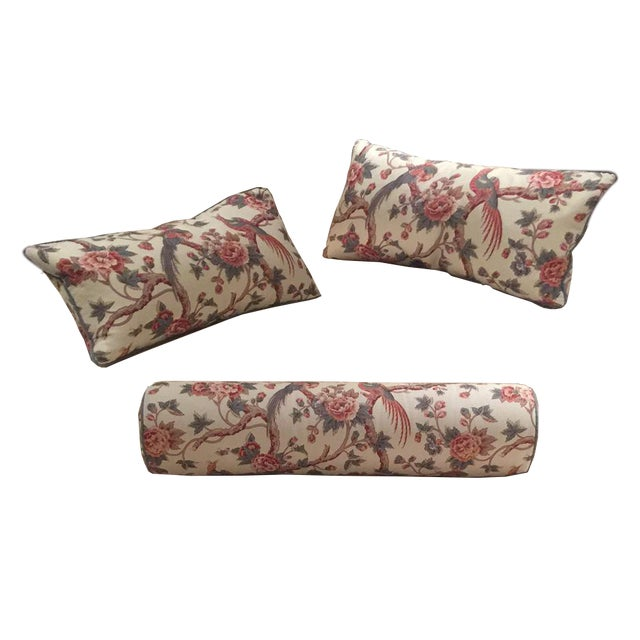 Bennison Floral Bolster and Knife-Edge Pillows - Set of 3 For Sale