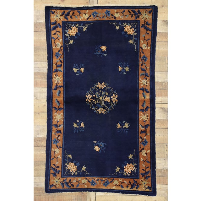 Textile Early 20th Century Antique Chinese Peking Accent Rug - 3′11″ × 6′8″ For Sale - Image 7 of 10