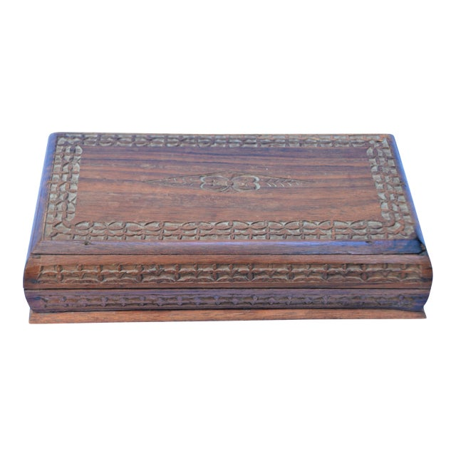 Vintage Carved Wooden Footed Jewelry Box For Sale