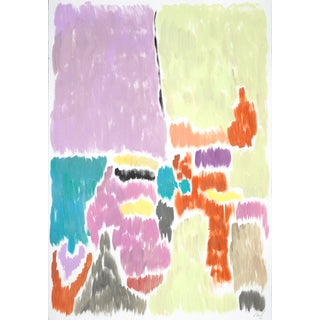 Pistachio and Mauve Blurry Interior, Acrylic Painting by Natalia Roman For Sale