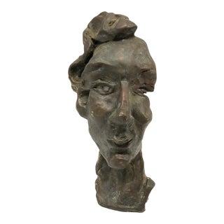 Vintage Bronze Face Sculpture For Sale