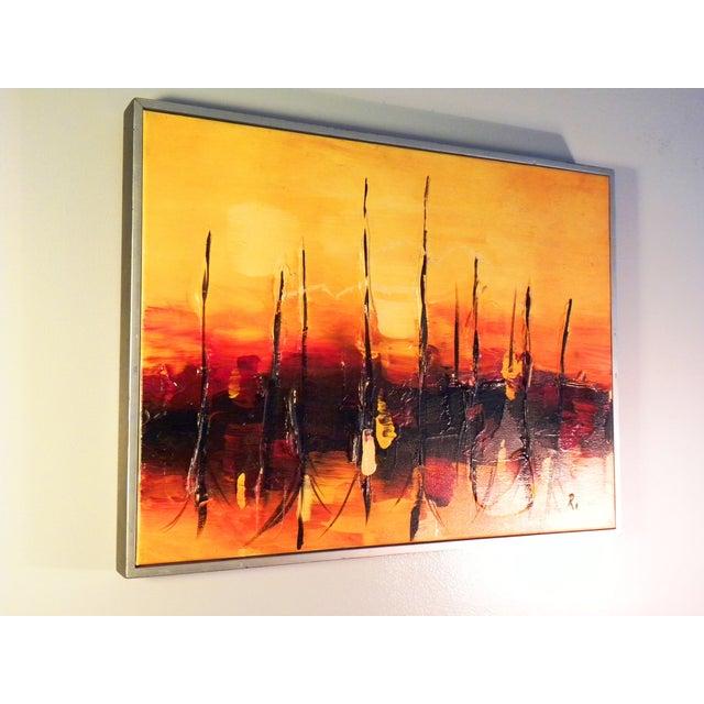 Mid-Century Modern Orange Abstract Painting - Image 4 of 7