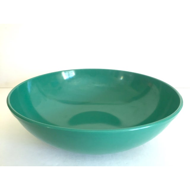 Vintage Mid Century Modern Melmac Melamine Extra Large Teal Green Round Serving Bowl For Sale - Image 11 of 13