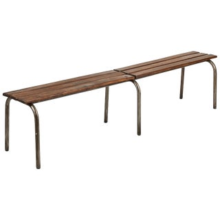Early 20th Century Pair of Metal and Wood Benches From France For Sale