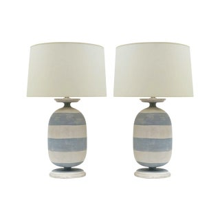 Pair of Painted Blue and White Striped Wood Lamps