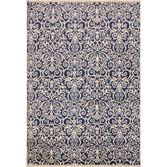 Blue Cryena Modern Yajaira Blue/Ivory Wool & Viscouse Rug - 5'0 X 7'0 For Sale - Image 8 of 8