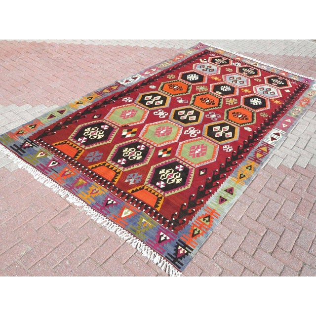 Vintage Turkish Kilim Rug - 6′6″ × 12′5″ - Image 4 of 10