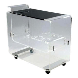 Lucite Bar Cart Att. To Lion in Frost For Sale