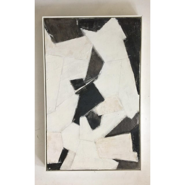 Abstract painting by Kimberly Moore. Black, white, and beige tones. Acrylic paint, gesso, pastels, charcoal, and pencil on...