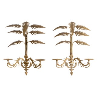 Pair of Palm Frond Two-Arm Candle Sconces For Sale