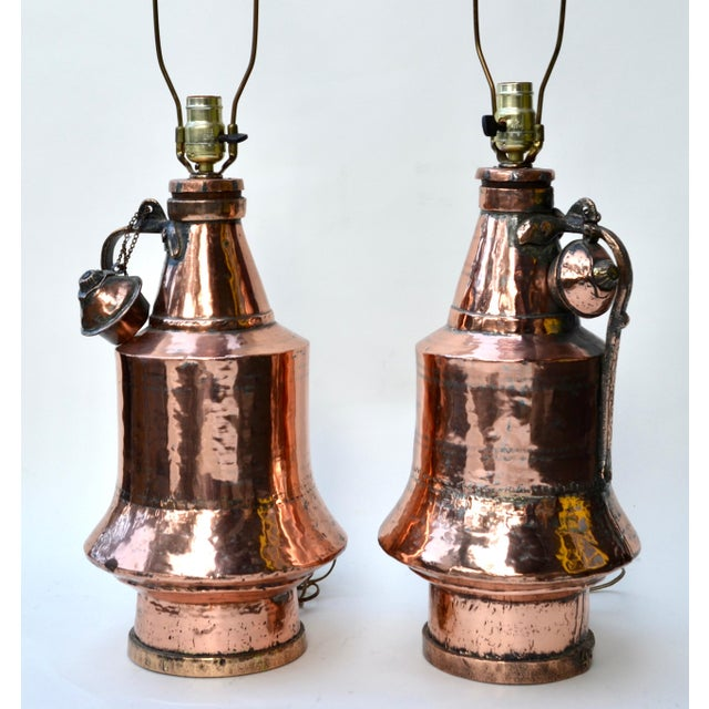 Boho Chic Antique Anatolian Copper Vessel Lamps - A Pair For Sale - Image 3 of 9