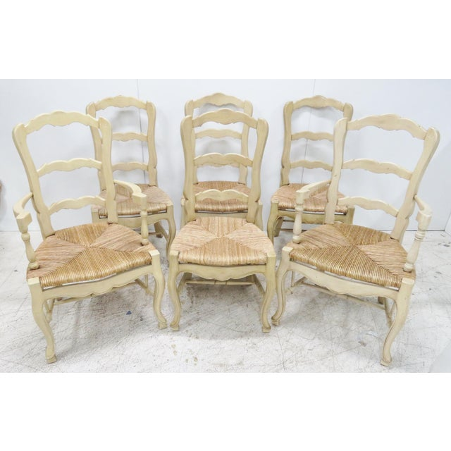 Set Of 4 Country Cream Dining Chairs: Cream Country French Rush Seat Dining Chairs