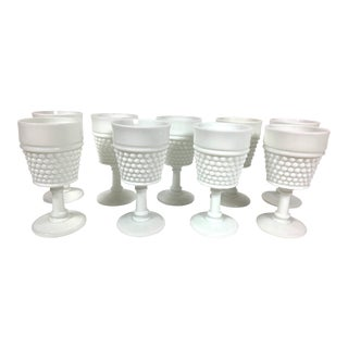 Mid 20th Century Nine, Milk-Glass, Hobnail Glasses With Stems - Set of 9 For Sale