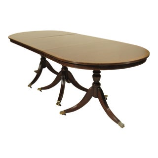 Regency-Style Inlaid Mahogany Dining Table