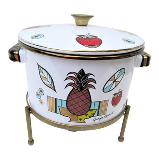 1950s Americana Enamelware Stock Pot With Brass Stand For Sale