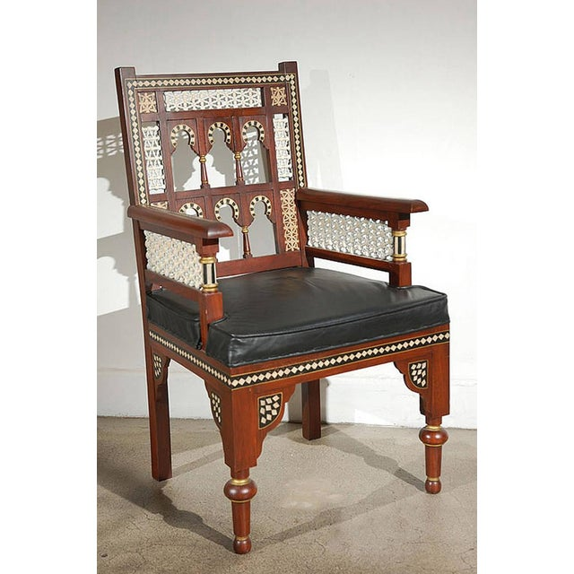 Black Pair of Moroccan Moorish Armchairs For Sale - Image 8 of 9