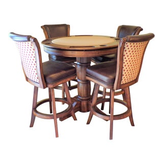 Vintage Counter Height Round Game/Pub Table and Swivel Stool - Set of 5 For Sale
