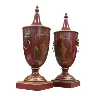 Tole Decorated Urns-A Pair