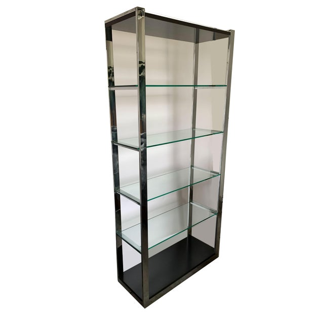 Mid-Century Modern Chrome Etagere With Glass Shelves For Sale - Image 3 of 8