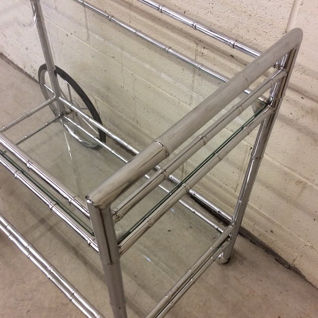 Italian Style Faux Bamboo Chrome Bar Cart For Sale In Richmond - Image 6 of 10