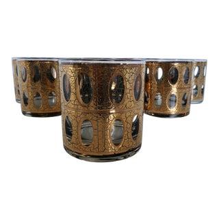 Vintage Mid-Century Modern Culver Pisa 22k Gold Lowball Glasses - Set of 8 For Sale