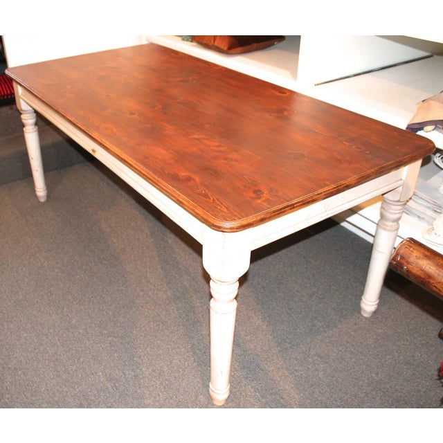 Early American Fantastic 20th Century Handmade and White Painted Base Harvest Table For Sale - Image 3 of 8