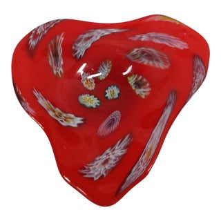 Late 20th Century Red Murano Heart Shaped Art Glass Serving Dish For Sale