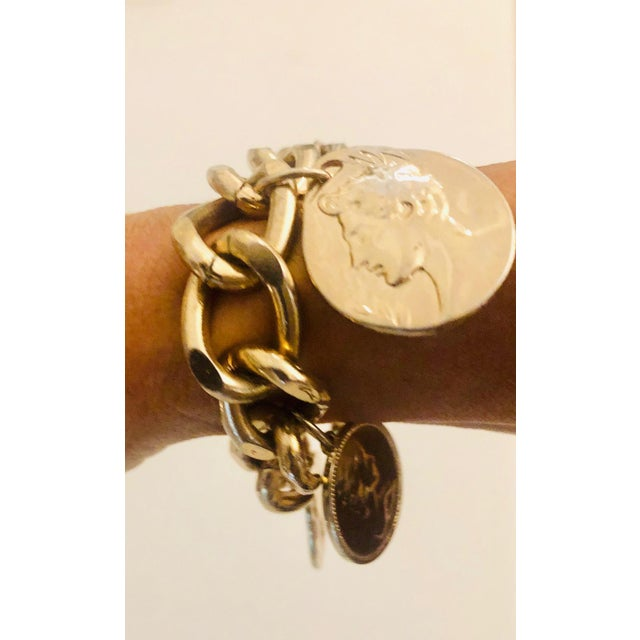 1980s 1980s Gold Roman Coin Charm Bracelet For Sale - Image 5 of 8