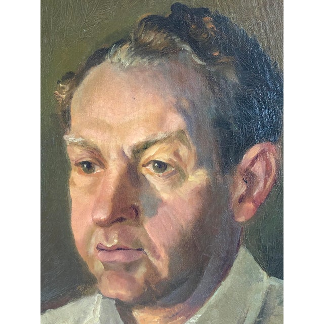 1940s Vintage Portrait of a Man in White Shirt Oil on Canvas Painting For Sale - Image 4 of 12