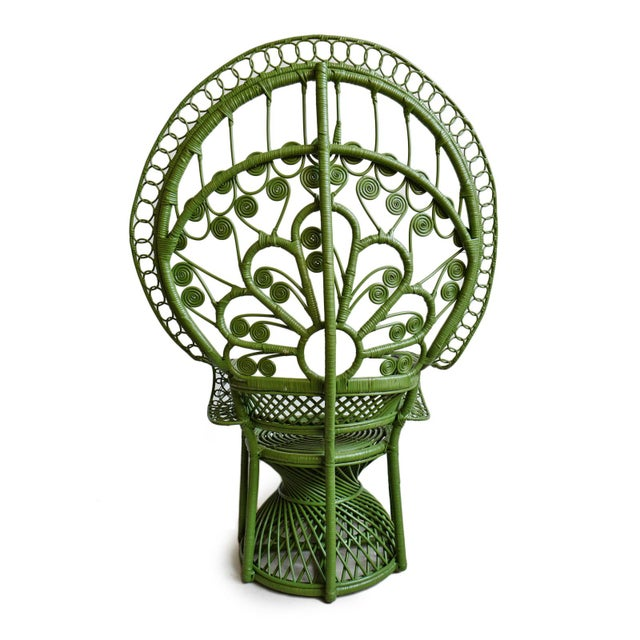 Green Moss Wicker Peacock Chair For Sale - Image 4 of 8