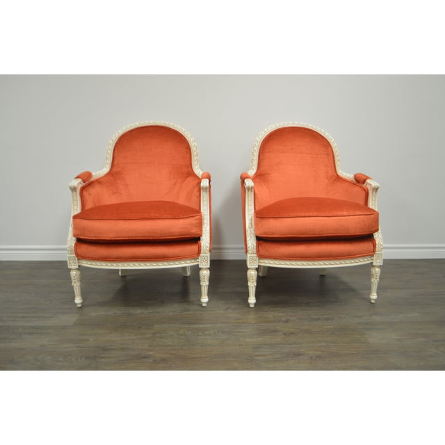 Pair of Louis XVI Style Painted Bergere Chairs Newly Uphostered in a Tangerine Velvet. For Sale - Image 10 of 10